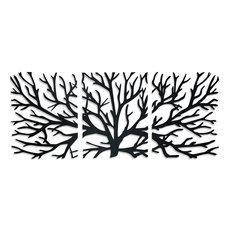 Crawling Branches 3-Piece Metal Wall Art, Matte Black
