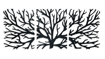 Crawling Branches 3-Piece Metal Wall Art, Matte Black