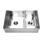 """33"""" Stainless Steel 60/40 Double Bowl Flat Front Farm Apron Kitchen Sink"""