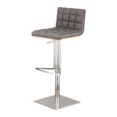 Oslo Adjustable Brushed Stainless Steel Bar Stool, PU With Walnut Back, Gray
