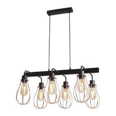 Bar Ceiling Pendant 6-Light Allegra Contemporary Design Industrial