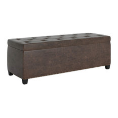 "Hamilton 48"" Rectangle Storage Ottoman, Distressed Brown Faux Air Leather"