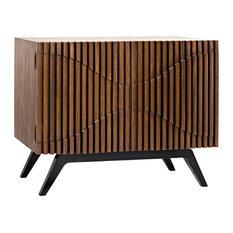 Noir Illusion Walnut And Metal Single Sideboard GCON244DW-1