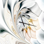 Designart - White Stained Glass Floral Art Oversized Modern Metal Clock, 30X40 - A beautiful addition to any home or office, this Modern & Contemporary rectangle wall clock is made on 100% solid aluminum. It has a highly reflective glossy finish creating a sleek modern look. This White Stained Glass Floral Art wall clock arrives completely ready to hang on the wall. Simply insert the �AAA� battery included with your order.