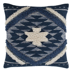 "Lachlan Pillow - Denim, Navy, Cream, Pale Blue, Down Feather, 18""x18"""