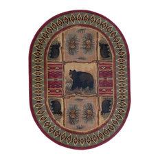 Sierra Bear Novelty Lodge Red Oval Area Rug, 5'x7' Oval