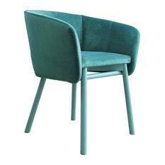 Balù Contemporary Monochromatic Dining Chair, Pastel Turquoise Velvet