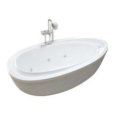 Venzi Tullia 38 x 71 x 20 Oval Freestanding Whirlpool Jetted Bathtub