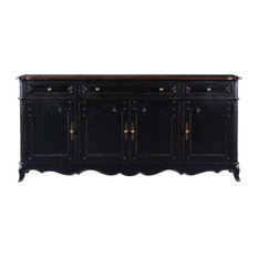 Sideboard French Provincial Scalloped Raised Panel Doors Walnut