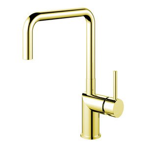 Rhythm Kitchen Mixer Tap, Square, Brass-Coloured Stainless Steel