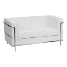 flash furniture hercules regal series white leather loveseat with encasing frame loveseats