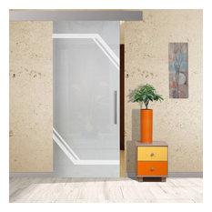 "Sliding Barn Glass Door with Geometric Full Private Sandblasted Design, 32""x81"""