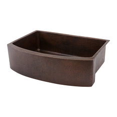 33-In Hammered Copper Kitchen Rounded Apron Single Basin Sink Pack-4