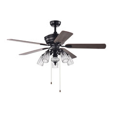 """52"""" Indoor Black/Brown Ceiling Fan With Glass Light Kit"""