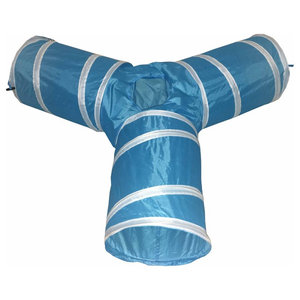 3-Way Interactive Collapsible Passage Kitty Cat Tunnel, Blue/White