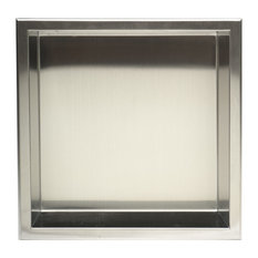 "Square Single Shelf Bath Shower Niche, 12""x12"", Brushed Stainless Steel"
