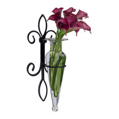 Wall Hanging Amphora Flower Vase Sconce on Fleur Lys Iron Stand, Clear Glass