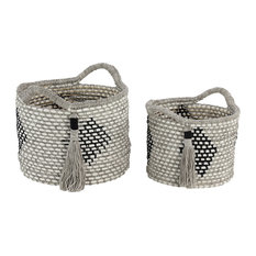 Round Gray & White Cotton Rope Baskets with Diamond Design and Tassels, Set of 2