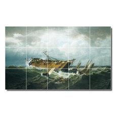 "William Bradford Waterfront Painting Ceramic Tile Mural #405, 40""x24"""