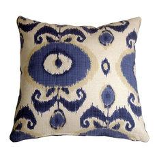 Pillow Decor - Bold Blue Ikat 20 x 20 Decorative Pillow