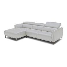 Divani Casa Maria   Divani Casa Sansa Modern Gray Leather Sectional Sofa   Sectional  Sofas