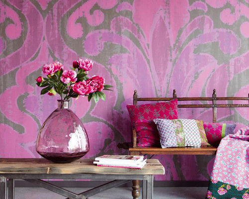 Medium Sized Living Room with Pink Walls Design Ideas, Pictures ...