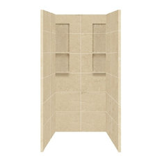 "Transolid DKW3668-96 Solid Surface 36""x36""x80"" Shower Wall Set, Almond Sky"