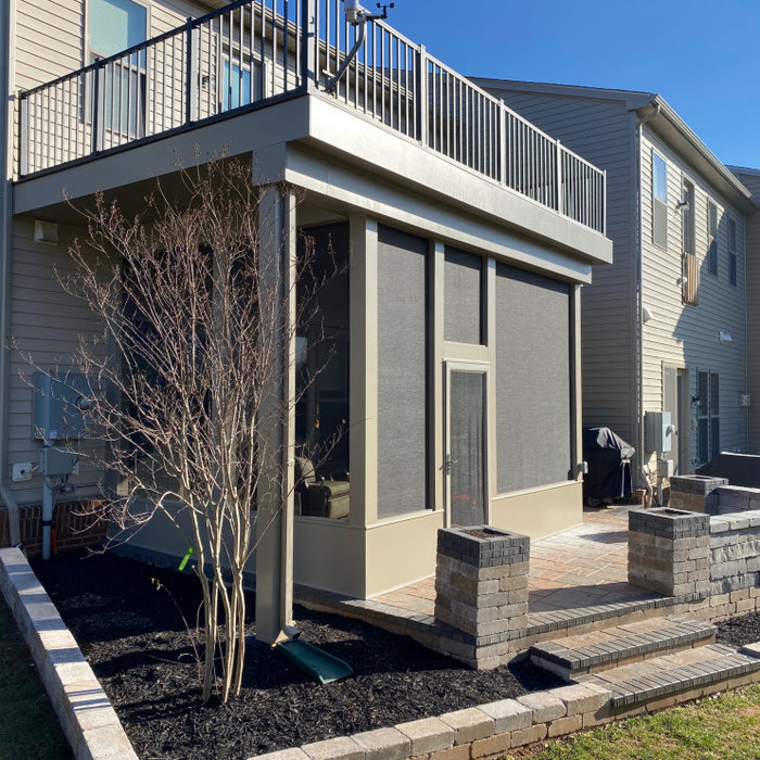 Deck, screen porch and hardscape