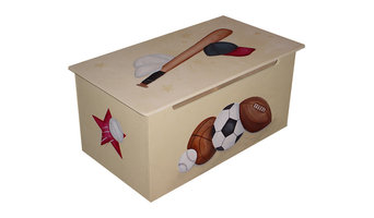CUSTOM Childrens toy box - Baseball, Football, Basketball and Hockey