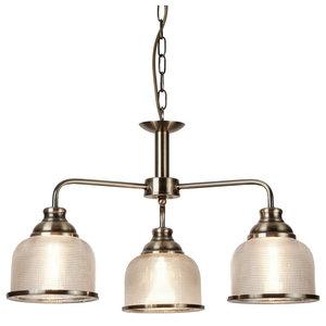 Bistro 3-Light Ceiling Halophane Glass Light, Antique Brass