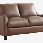 Oliver Pierce - Randall Top Grain Leather Loveseat - With its gently sloped arms, delicate brass trim, and luxurious Italian leather upholstery, this timeless loveseat infuses any living space with an air of undeniable elegance.