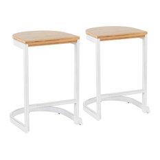 Lumisource Demi Counter Stool, White and White Washed Wood, Set of 2