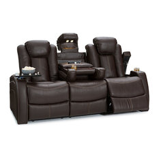 Seatcraft - Seatcraft Omega Leather Gel Home Theater Seating Power Recline Sofa, Brown - Theater Seating