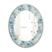 Great Wave Inspiration Traditional Frameless Round Wall Mirror