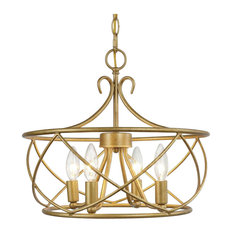 LNC 5-Light Antique Gold Modern Chandelier