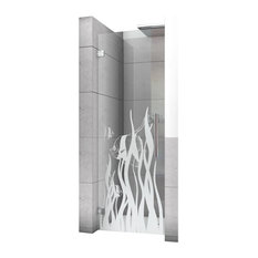 "Hinged Alcove Shower Door With Fish Design, Non-Private, 24""X75"", Left"