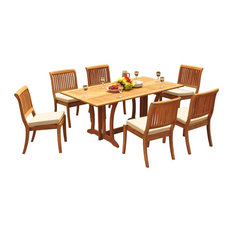 """7-Piece Outdoor Teak Dining Set: 69"""" Table + 6 Arbor Stacking Arm/Armless Chairs"""