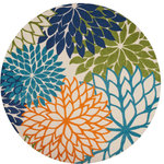 """Nourison - Nourison Aloha Indoor/Outdoor Area Rug, Multicolor, 7'10"""" Round - An oversized floral design in shades of blue, orange, green, navy and camel adds a high-spirited surge of style to any area. Featuring an ingenious polypropylene- fabrication that's a breeze to maintain and feels simply terrific underfoot, this uplifting indoor/outdoor rug is as sensible as it is sensational."""