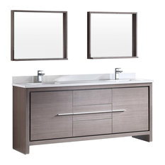 "Fresca Allier 72"" Gray Oak Modern Double Sink Bathroom Vanity, Mirror"