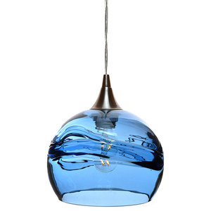 Swell Pendant Form No. 767, Blue Glass Shade, Brushed Nickel Hardware, 8W LED