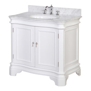 "Katherine Bath Vanity, Base: White, 36"", Top: Carrara Marble"