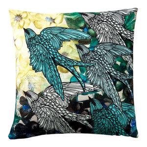 Paradise Velvet Cushion, Birds on Flowers