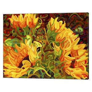 "Sunflower on Wheat Field in Summer Sunny Day Canvas Art Wall Decor 32/"" x 48/"""