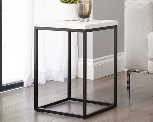 Acute Matt White And Black Side Table   Side Tables And End Tables