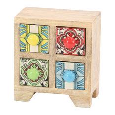 Traditional Square Multicolor Lattice-Patterned 4-Drawer Ceramic Jewelry Box