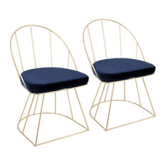 LumiSource Canary Dining Chairs, Gold Frame, Set of 2, Blue Velvet