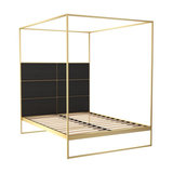 Federico King Canopy Bed, Black Stained Oak, Brass Base
