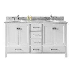 "Caroline Avenue 60"" Double Bathroom Vanity Cabinet Set, White, Without Faucet"