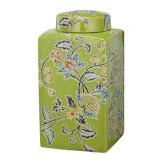 David Tutera Lidded Etched Ceramic Jar, Green