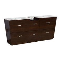 "Plywood-Melamine Vanity Set, Wenge With 8""O.C, CUPC Faucet"